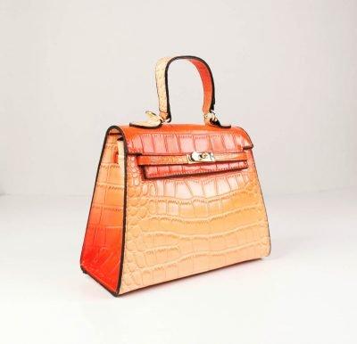 BG-709a Orange Croc Pattern Structured Mini Bag