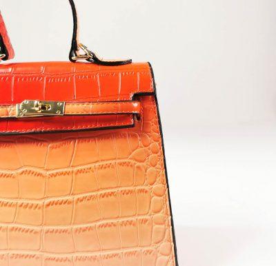Orange Croc Pattern Structured Mini Bag