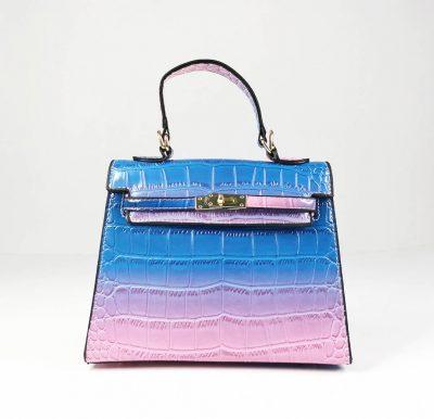 Blue Two Tone Croc Pattern Structured Mini Bag