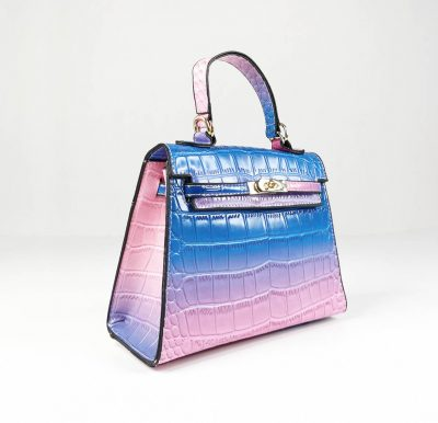BG-710a Blue Croc Pattern Structured Mini Bag
