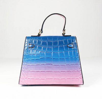 BG-710b Blue Croc Pattern Structured Mini Bag