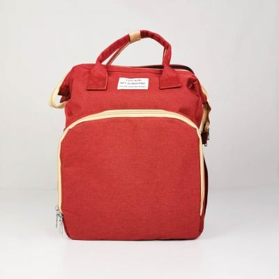 Wine Multifunctional Portable Folding Baby Diaper Bag