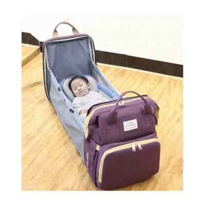 Purple Multifunctional Portable Folding Baby Diaper Bag