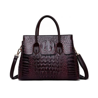 Real Leather Cro codile pattern womens Purple tote bag
