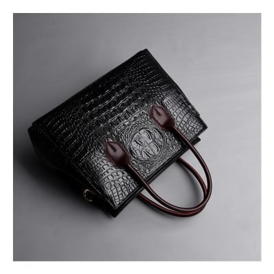 Real Leather Cro codile pattern womens Black tote bag