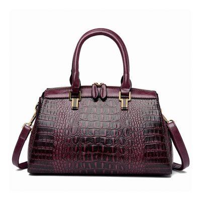 Crocodile skin real leather womens Purple office bag