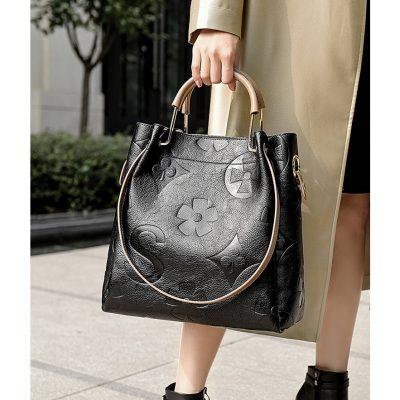 Genuine Leather embossed texture womens handbag