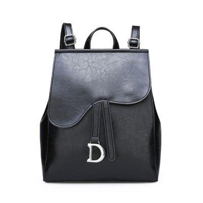 Multi-functional Premium Leather Black Backpack For Women