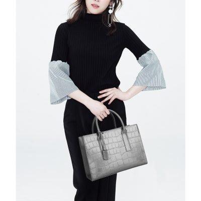 PU Leather Structured Office Handbag