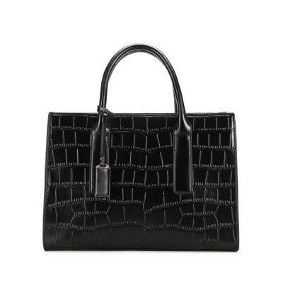 PU Leather Structured Office Black Handbag