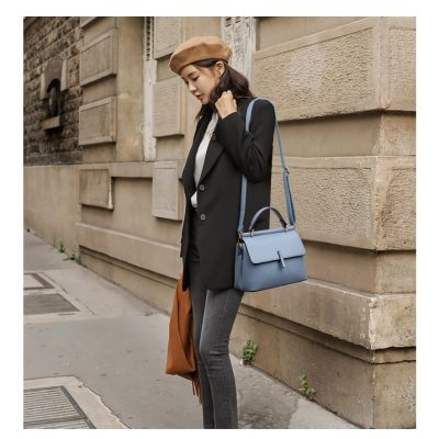 Portable PU leather womens blue handbag