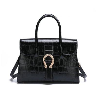 Croc skin womens office black handbag