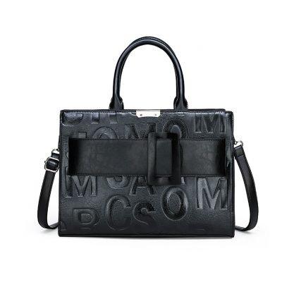 Leather letter embossed women's work black handbag