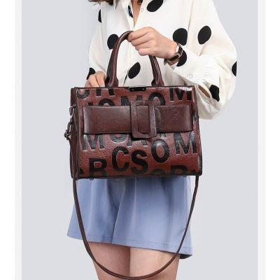 Leather letter embossed women's work brown handbag