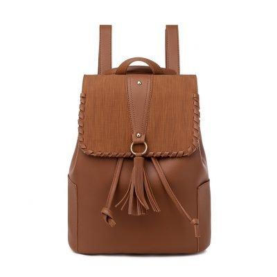 PU Leather tassel womens brown Backpack