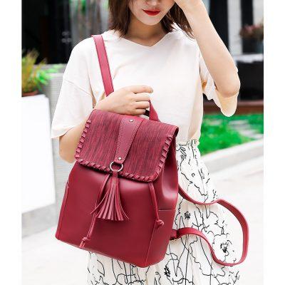 PU Leather tassel womens wine Backpack