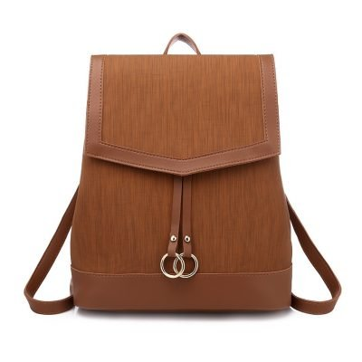 2 in 1 set PU mixed leather womens Brown Backpack