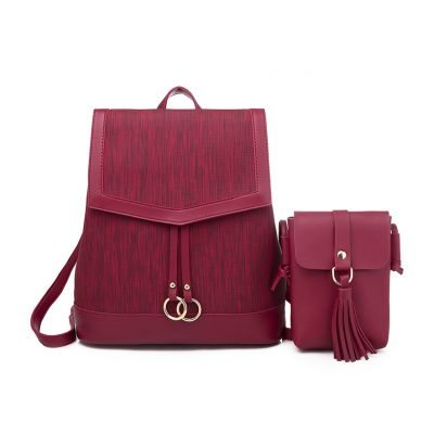 2 in 1 set PU mixed leather womens Wine Backpack