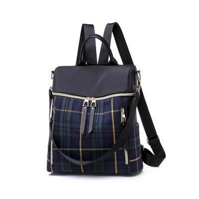 Blue Plaid pattern female backpack