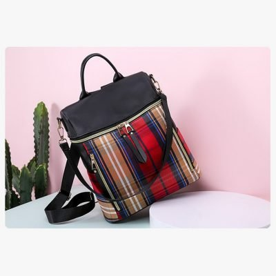 Red Plaid pattern female backpack
