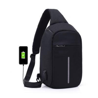 Black External USB Charge Antitheft crossbody bag