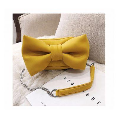 Yellow Big bow design womens mini bag