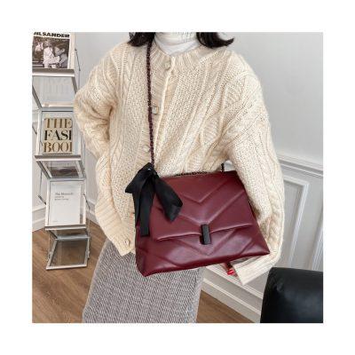 Burgundy Quilted V design womens leather bag