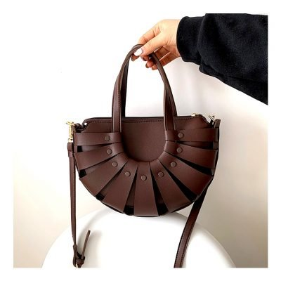 Brown Vintage semi circle womens outing handbag