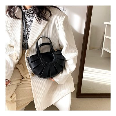 Black Vintage semi circle womens outing handbag
