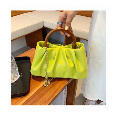 Green Soft PU leather Chain hand womens outing mini bag