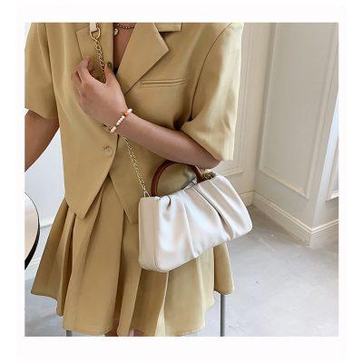 White Soft PU leather Chain hand womens outing mini bag