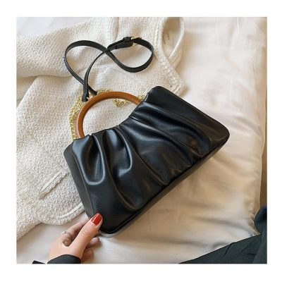 Black Soft PU leather Chain hand womens outing mini bag