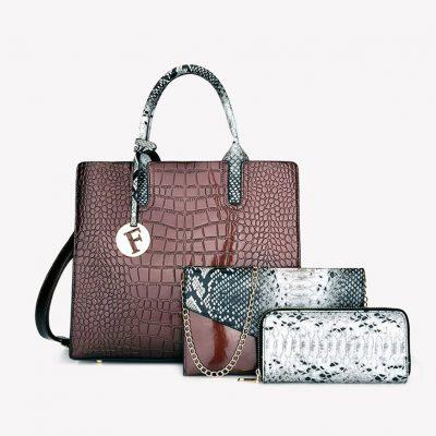 Brown 3 piece croc pattern womens fashion handbag