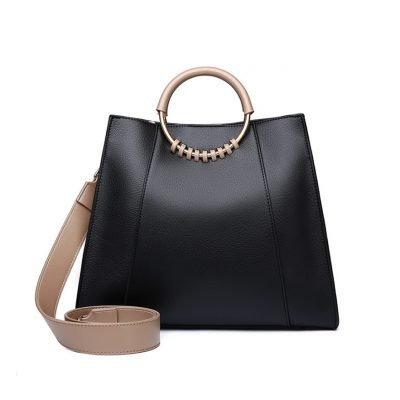 Black Real Leather boss lady womens handbag