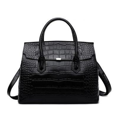 Black Croc skin genuine leather womens office bag