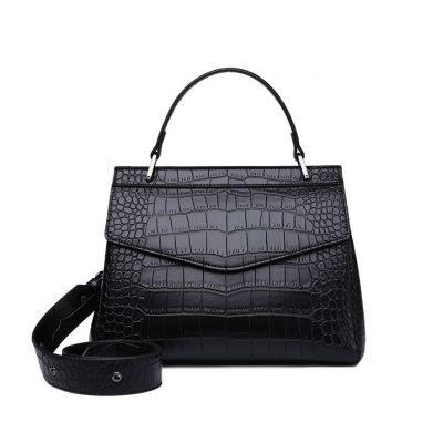 Black Trendy cro codile pattern female office handbag