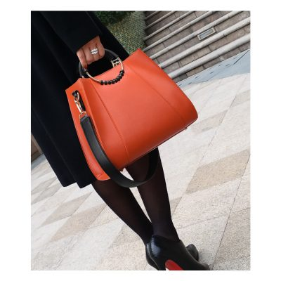 Orange Real Leather bosslady handbag