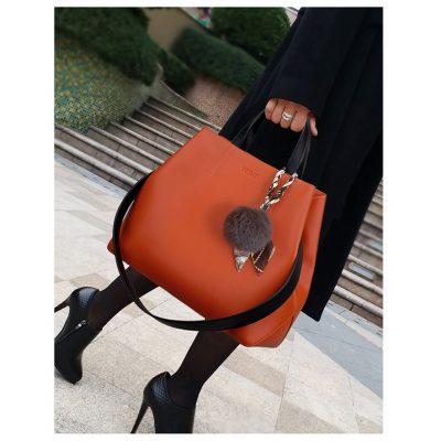 Orange Large capacity real leather bucket handbag