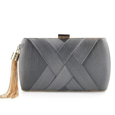 Satin Tassel wedding evening grey clutch purse