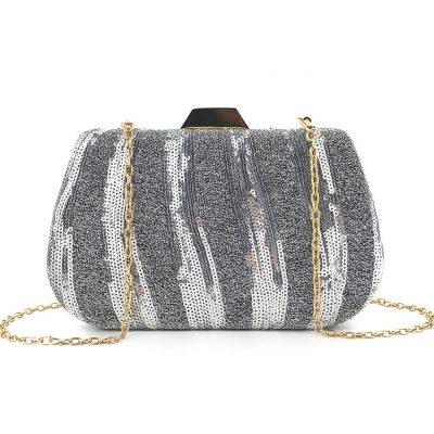 Silver Sequin Glittered occasion clutch purse