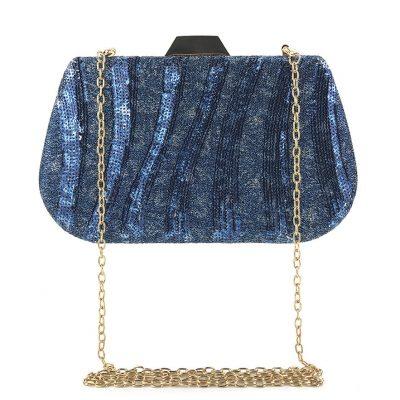 Blue Sequin Glittered occasion clutch purse