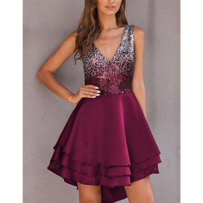 Sequin Multi Layer Skater Dress - Sojoee.com