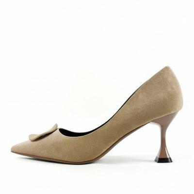 Khaki Mid Heel Women Work shoe