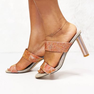 Gold womens party low heel mules