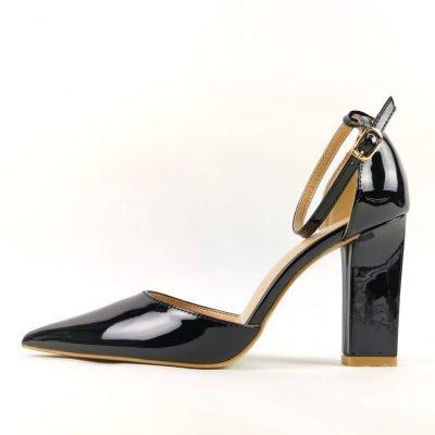 Women Black Block Heels Office Shoes
