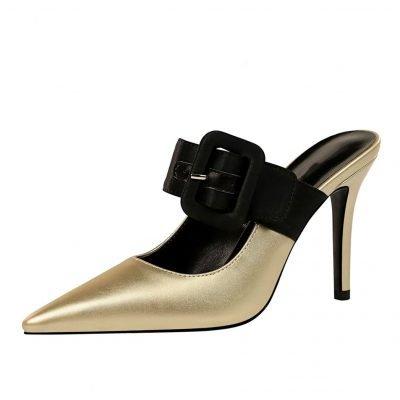 Womens Gold Party Mule Heels