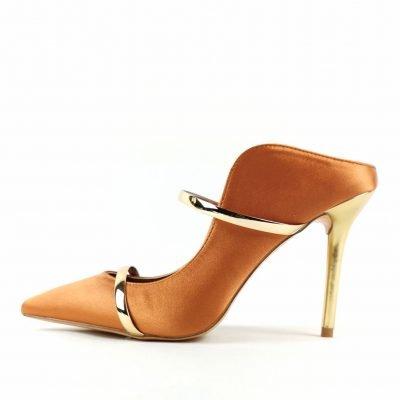 Caramel Women party heel mules shoes