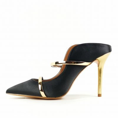 Womens Black and Gold heel Mules