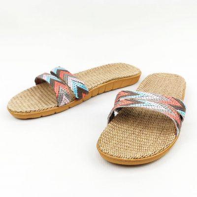 Multicolored Casual Rafia Beach Slippers for Women