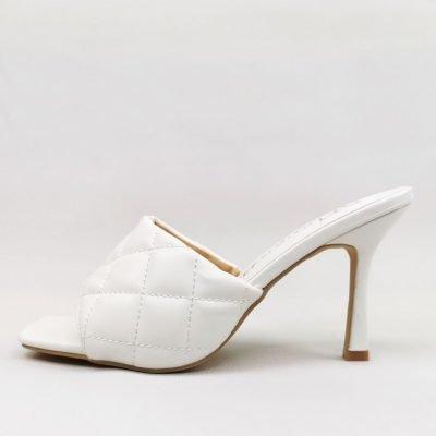 White Open Toe Mules for Women
